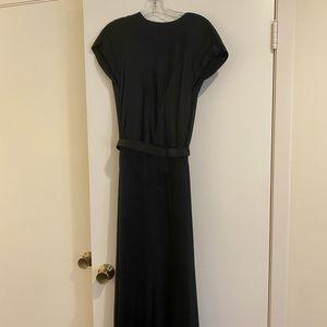 Chanel Boutique black silk belted evening dress